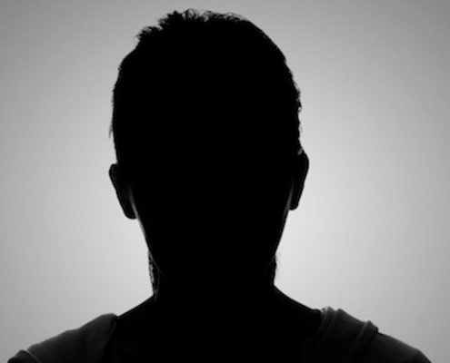 silhouette face on white background
