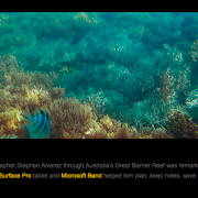 A photo of the great barrier reef taken on a trip sponsored by Microsoft.